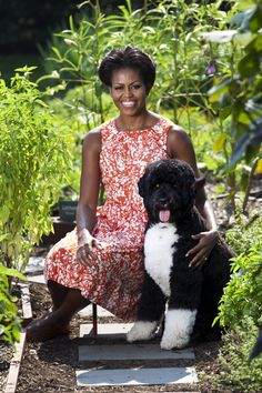 First Lady Michelle Obama and Bo sit in the White House Kitchen Garden.