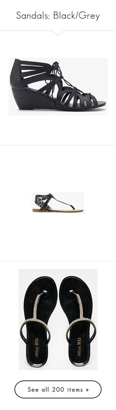 """Sandals; Black/Grey"" by secretsoftheslytherin ❤ liked on Polyvore featuring shoes, sandals, forever 21, forever 21 shoes, lace up wedge sandals, mid heel wedge sandals, wedge heel sandals, cut-out shoes, forever 21 sandals and vegan sandals"