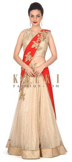 Buy this  Beige and red saree gown enhanced in embroidered pallav only on Kalki