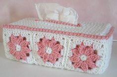 Free crochet tissue box cover pattern.