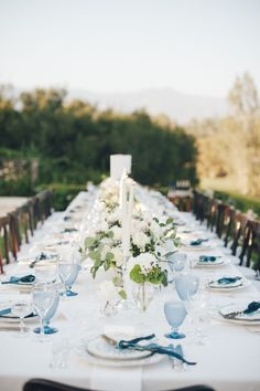 La Tavola Fine Linen Rental: Organdy White over Nuovo White with Hemstitch White Napkins and Essex French Blue Chair Cushions | Photography: Patrick Moyer, Event & Floral Design: TOAST Santa Barbara, Rentals: The Ark Event Rentals and Classic Party Rentals, Venue: Ojai Valley Inn & Spa