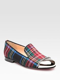 Bahahaha...found these Christian Louboutin tartan metal-toe loafers that would be perfect for my Scottish-themed work party next week. Only $995!