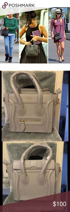 Nano Beige Grey Phantom Bag Comes with logo. Comes with straps. As seen on celebrities such as Rihanna, Nicky Hilton, the Kardashian sisters, Jenner sisters, Hilary Duff, Dakota Fanning, Bella Hadid, Oprah, Miley Cyrus, Nicole Richie, Reese Witherspoon, Rashida Jones, Nicole Kidman, Jennifer Garner, Demi Lovato, Jennifer Lawrence and more!!! *price reflects authenticity* Material of Bag is PU Leather. Bags