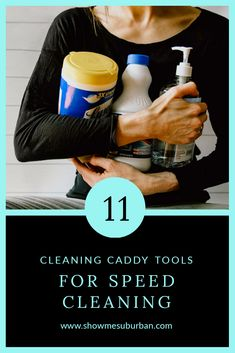 When you need to clean your house fast, using the right cleaning supplies achieves better results in less time. Check out my 11 favorite speed cleaning tools, plus tips and tricks to get the most out of each! Cleaning Caddy, Speed Cleaning, Cleaning Checklist, Cleaning Hacks, Cleaning Supplies, Refrigerator Organization, Laundry Room Organization, Home Management Binder, Management Tips