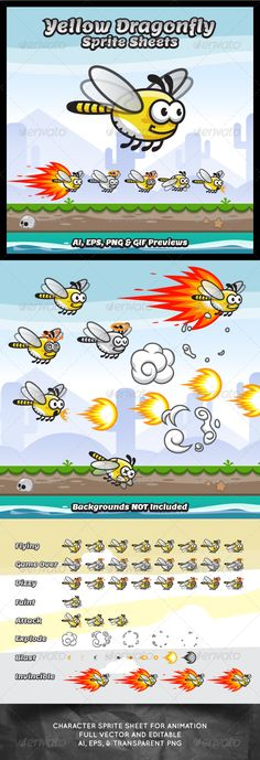 Yellow Dragonfly Sprite Sheets - Sprites Game Assets