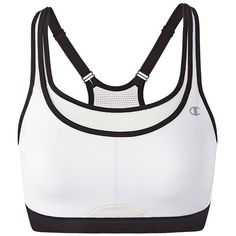 Champion Bra: All-Out Support High-Impact Sports Bra 1660 ($34) ❤ liked on Polyvore featuring activewear, sports bras, plus size, white oth, womens plus size activewear, racer back sports bra, racerback sports bra, champion activewear and white sports bra