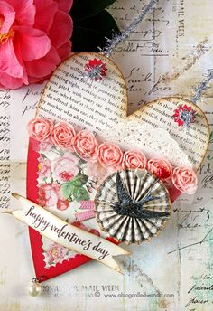 Vintage Valentine heart pocket