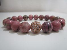 Rodonita,Pulsera de Rodonita piedras semipreciosas,Pulsera de amistad,regalo para mujer,Micropave oro rosa con cubico zirconio,Regalo de Lenajoyas en Etsy
