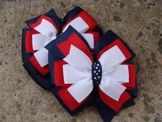 2 School hair bows uniform Hair Bow Navy Hair Bows Navy Red and White Hair Bows Pigtail Set Navy Hair, White Hair Bows, Large Hair Bows, Diy Hair Bows, Diy Bow, Bow Hair Clips, Hair Ribbons, Ribbon Bows, Ribbon Art