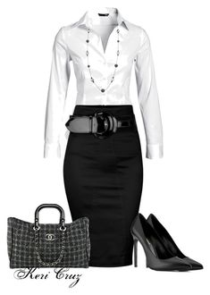 business mode damen A fashion look from December 2013 featuring long sleeve shirts, cotton skirts and yves saint laurent shoes. Browse and shop related looks. Office Attire, Office Outfits, Work Attire, Office Wear, Work Outfits, Casual Attire, Casual Wear, Casual Office, Stylish Office