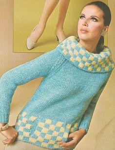 Vintage 60er Jahre Cowl Neck überprüft Pullover von cemetarian, $2.00