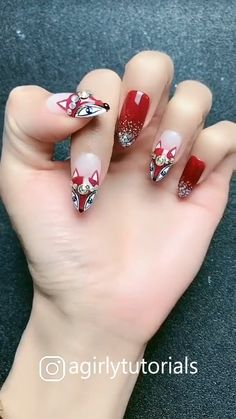 10 Most Popular Step By Step Nail Art Tutorials Part 5 - Christmas Nail Art Designs Beautiful Nail Designs, Simple Nail Designs, Fall Nail Designs, Acrylic Nail Designs, Beachy Nail Designs, Tropical Nail Designs, Acrylic Nails, Nail Art Hacks, Gel Nail Art