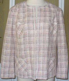 Lands' End 24W Lined Career Blazer Pink White Yellow Tan Plaid Jacket Plus 3X #LandsEnd #Blazer