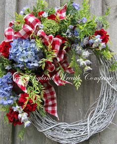 Spring Wreath Cottage Wreath Fourth of July by NewEnglandWreath