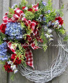 Spring Wreath Cottage Wreath Fourth of July by NewEnglandWreath