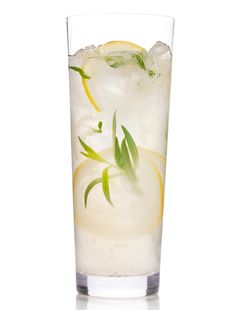 Sparkling tarragon gin lemonade: muddled lemons and tarragon with sugar, gin, St-Germain, lemon juice, and club soda