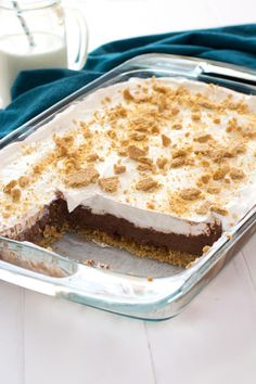 Chocolate Cheesecake Pudding Dessert has layers of chocolate pie and cream cheese. It can't get better than this!
