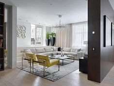 Fabulous Modern Alexandra Fedorova Integrated Loft Design in Russia: Neutral Living Room Decor With Yellow Accent Chairs At Airy Apartment Moscow On The Grey Patterned Carpet And White Oak Floor ~ CLAFFISICA Apartment Inspiration Living Room Colors, Minimalist Living Room, Contemporary Apartment, Contemporary Interior, House Interior, Home Interior Design, Living Room Design Modern, Living Decor, Living Room Designs