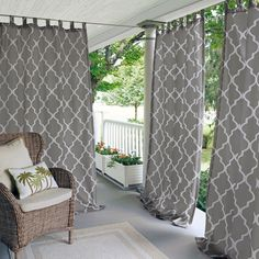 Elrene Home Fashions 026865796506 Indoor/Outdoor Tab Top Single Panel Window Curtain Drape, x Gray Indoor Outdoor, Outdoor Living, Outdoor Decor, Rideaux Boho, Cortinas Boho, Rico Design, Drapes Curtains, Neutral Curtains, Layered Curtains