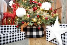 This DIY buffalo check tree collar was made with very basic hardware store supplies and fabric. You can use any fabric you like as well! Christmas Tree Box, Christmas Fabric, Christmas Wreaths, Christmas Crafts, Christmas Decorations, Christmas Ideas, Holiday Ideas, Christmas Sewing, Christmas Wrapping