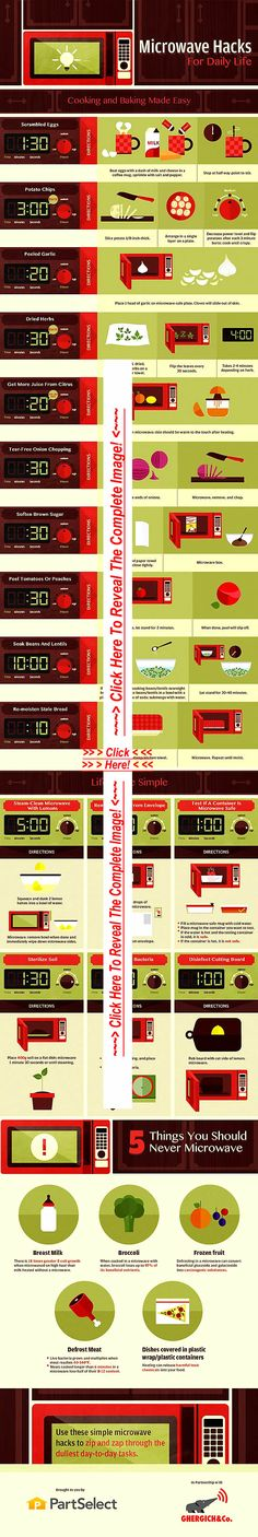 THE ULTIMATE CHEAT SHEET of MICROWAVE HACKS-Cooking Hacks! ............................................................................................................................................ --- PLEASE PIN THIS TO YOUR BEST BOARD...... It's definitely worth it!!!