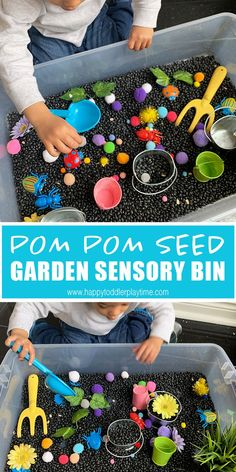 Pom Pom Seed Garden Sensory Bin - HAPPY TODDLER PLAYTIME Pom pom seed planting sensory bin is fun spring sensory and pretend play bin for toddlers and preschoolers. It's an easy and colourful way to occupy your little one at home! Toddler Sensory Bins, Toddler Learning Activities, Baby Sensory, Spring Activities, Toddler Fun, Infant Activities, Sensory Play, Toddler Preschool, Toddler Crafts