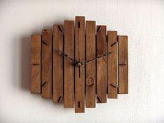 "Wood Wall Clock ""Romb I"", Wooden Clock, Geometric Clock, Steampunk Vintage… Hanging Clock, Diy Clock, Cool Clocks, Unique Wall Clocks, Into The Woods, Rustic Walls, Wooden Walls, Wall Clock Design, Wooden Clock"