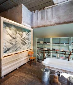 Industrial décor in skincare shop with single chair