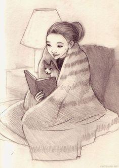 Slightly Ignorant's Bookish Place — Amazing illustrator Erin McGuire. Reading Art, Woman Reading, Reading Books, Crazy Cat Lady, Crazy Cats, I Love Books, Good Books, Book Nerd, I Love Cats