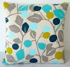 Floral retro blue, green and grey on beige background cushion Cover, contemporary designer fabric slip cover, throw pillow