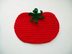 Crochet Tomato Vegetable Red Pot Holder Hot Pad potholder handmade kitchen housewarming gift via Etsy