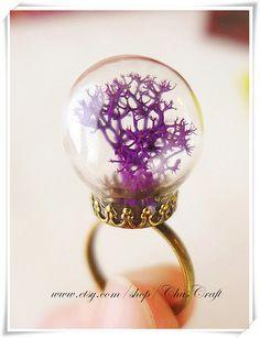 Real Moss Ring, Moss Terrarium Ring, Real Plant Ring, Statement Ring, Glass Terrarium Plant Jewelry, Purple Ring, Orange Ring, Irish jewelry