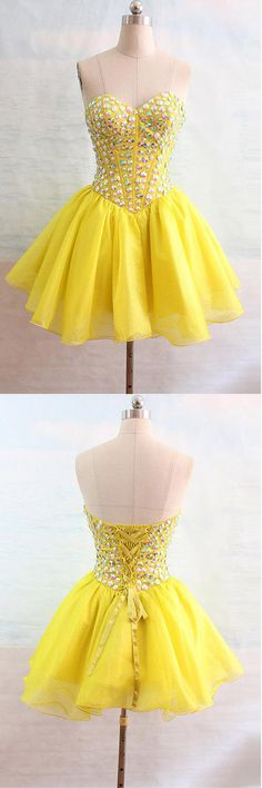 Organza Sweetheart Yellow Homecoming Dresses With Beading PG132