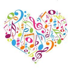 Coração colorido com notas musicais - gosto pela música