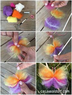 Mariposas de lana cardada | Casa Waldorf