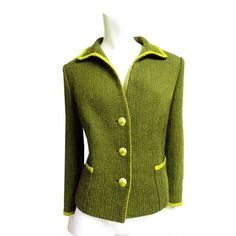 Vintage jacket coat Plus Size Mustard green in wool and velvet