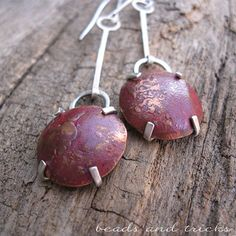 Reticulated copper and sterling silver earrings, red patina | Handmade by Beads and Tricks