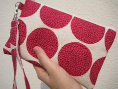 WEDDING CLUTCH, Gift Pouch 2 pockets bridesmaid clutch wristlet handmade wedding gift --Chrysanthemum pink by bagonebagshop on Etsy