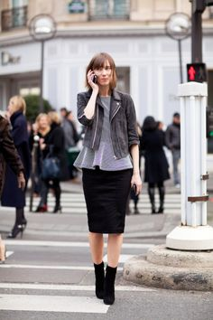 Ankle boots and pencil skirt. Peplum shirt and jacket