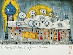 "Képtalálat a következőre: ""hundertwasser art"" Hundertwasser Art, Friedensreich Hundertwasser, Ernst Ludwig Kirchner, Paul Klee, Wassily Kandinsky, Gustav Klimt, Pixel 1, Art Nouveau, Unique Architecture"
