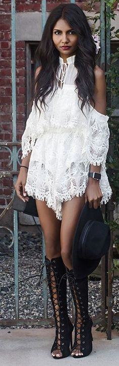 Revolve Lace Playsuit, Public Desire Lace Up Knee High Boots, ASOS Black Hat | TUOLOMEE #revolve