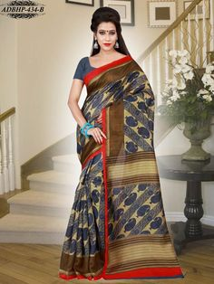 Beige & Blue Colour Bhagalpuri Art SilkSaree With Unstitched Blouse - Silk - Shop By Fabric - Sarees