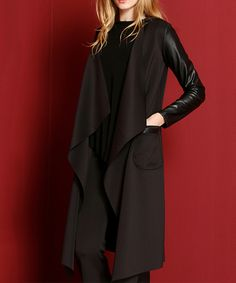 Love this Laranor Black & Faux Leather-Accent Cardigan by Laranor on #zulily! #zulilyfinds