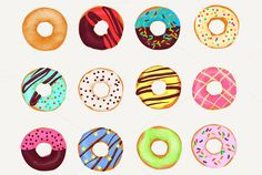 Cartoon realistic donuts cakes set. by @Graphicsauthor