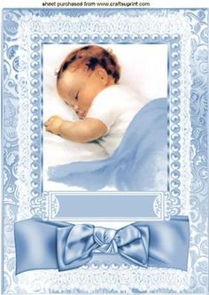 Sweet Baby Boy with satin bow and lace on Craftsuprint - Add To Basket! Vintage Baby Pictures, Images Vintage, Baby Boy Scrapbook, Kids Photo Album, Handgemachtes Baby, Baby Barn, Vintage Wrapping Paper, Baby Journal, New Baby Cards
