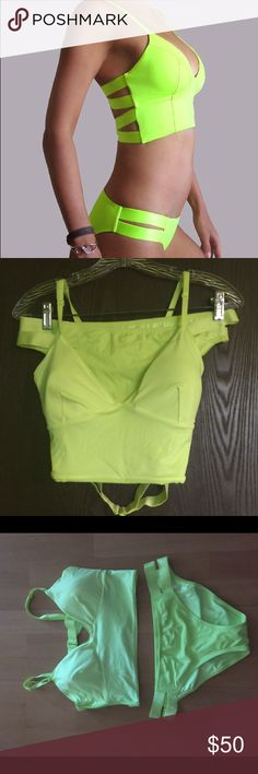 Brand new Victoria Secret Lime Green Swimsuit SZ L This is a brand new Swimsuit from the Victoria Secret collection size Large. Beautiful in a bold lime green color this suit was originally sold as separates. Never worn the swimsuit tag is still on the bikini. Wish I could fit it however the lucky person will be happy with their purchase. Sorry, Pics #3&4 were taken without flash on camera . Pics #1&2 are the actual color of the swimsuit. As with all swimsuits, go one or two sizes up from…
