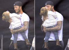 Harper Beckham, feliz en los brazos de papá en un día familiar de hockey