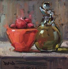 cathleen rehfeld • Daily Painting: Olive Oil and Coral Bowl with Italian Plums