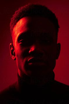 African American man portrait under red lights by Leandro Crespi for Stocksy Uni. - African American man portrait under red lights by Leandro Crespi for Stocksy United You are in the r - Colour Gel Photography, Portrait Photography Lighting, Red Photography, Creative Portrait Photography, Photo Portrait, Photography Poses For Men, Creative Portraits, Studio Portraits, Inspiring Photography
