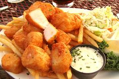 Fried scallops from Pearl, a harborside restaurant in Wellfleet, MA with outstanding views of Cape Cod from its deck.